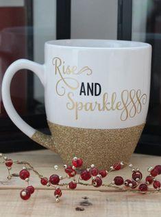 gold glitter Rise and Sparkle mug