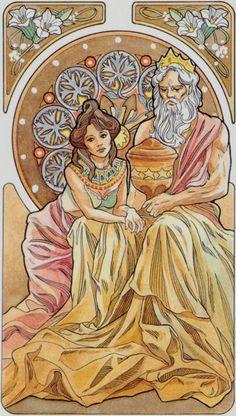 Le roi de coupes - Tarot art nouveau par Antonella Castelli