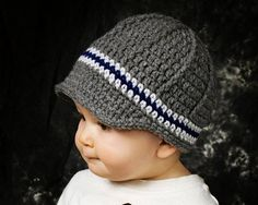 Boys newsboy hat, crochet boys beanie, toddler boy hat, baby boy hat, gray and navy blue - pick your colors and size