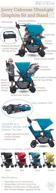 Joovy Caboose Ultralight Graphite Stroller - If you are looking for a stroller to accommodate a toddler and baby, what you need is a sit-and-stand stroller... so that your baby can sit or sleep in the stroller, while your older toddler have the freedom to walk alongside or sit/stand on the stroller. Joovy Caboose Ultralight Graphite is perfect for this use as it is ultralight, compact, features a huge canopy, has reclining seat features and comes in 4 trendy colors!