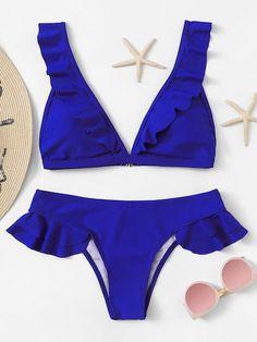 Shop Plunge Ruffle Top With Low Rise Bikini Set online. SHEIN offers Plunge Ruffle Top With Low Rise Bikini Set & more to fit your fashionable needs. Bikini Sets, Blue Bikini, Bikini Swimwear, Sports Swimwear, Summer Swimwear, Summer Bathing Suits, Cute Bathing Suits, Bra Types, Cute Swimsuits