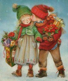 Suenos de nina - Navidad ~ Painting by Lisi Martin Spanish) Vintage Christmas Images, Vintage Holiday, Christmas Pictures, Illustration Noel, Christmas Illustration, Holly Hobbie, Christmas Scenes, Christmas Past, Xmas