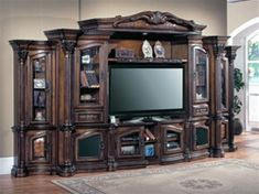 The Grandview Collection by Parker House kept in Grand European Style features Multi-step, Chestnut Finish with accent shading & highlights. Hand distressed, medium sheen top coat covers the artisan made furniture featuring intricate carving. Home Entertainment Centers, Parker House, Home, Wall Systems, Log Cabin Furniture, House Interior, Wall Unit, Tuscan Decorating, Tv Wall Unit