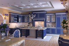 Выберите свой интерьер кухни в синих тонах