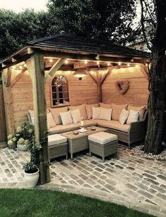 New pergola patio lights gazebo ideas Small Backyard Patio, Backyard Gazebo, Backyard Seating, Pergola Patio, Backyard Landscaping, Outdoor Seating, Backyard Storage, Diy Patio, Pergola Kits