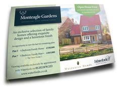 Waterfords & Westbuild Homes information card for marketing new housing plots.