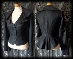 Goth Black Fitted Peplum DEADLY Frill Collar Jacket Coat 12 14 Victorian Vintage - £49.00