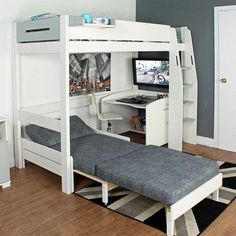 Purchase a Urban Grey High Sleeper 1 at Room To Grow. We offer price match availability on the Urban Grey High Sleeper 1 & free delivery available Bunk Bed With Desk, Cool Bunk Beds, Bunk Beds With Stairs, Kids Bunk Beds, Loft Beds For Teens, Cabin Beds For Teenagers, Kids High Beds, Bedroom Ideas For Teen Boys, Boys Cabin Bed