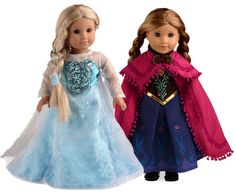 "Disney Frozen Elsa Anna Costume Sets Doll Clothes Fits 18"" American Girl 