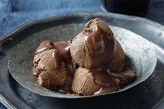 Creamy chocolate ice-cream with dark chocolate sauce main image