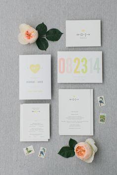 White, Gray and Yellow Wedding Invitations