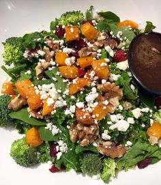 Fall is back! And with Fall comes fall veggies!  Kale & Spinach mixed with butternut squassh, quinoa, broccoli, goat cheese, toasted walnuts with honey balsamic shallots vinaigrette