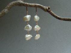 Heishi Pearl and Rose Gold Chandelier Earrings by seemomster #pearls #wedding #bridaljewelry