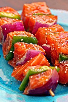 Sesame Salmon Kabobs - keviniscooking.com