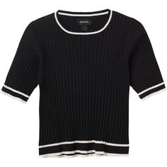 Monki Realyn knit top (35860 PYG) ❤ liked on Polyvore featuring tops, shirts, tees, black magic, shirt top, cut-out crop tops, round top, knit shirt and tight fit shirts