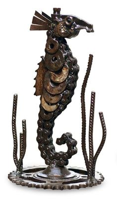LUCKY SEAHORSE Recycled Auto Parts Metal Sculpture Peru ART | eBay