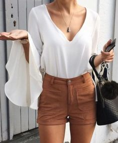 91c5655406  summer  outfits   Bell Sleeve Blouse + Shorts Elle Fashion