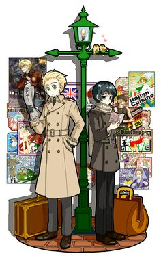 Tags: Anime, Reading, Trench Coat, Axis Powers: Hetalia, Seychelles, Taiwan, Japan