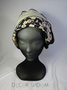 cappello bianco nero,cappellino di tela,fiorato,con spirale,cappello decorato,ricamato,cappellino con risvolto,a fiori,ricami verdi c15 di decorandom su Etsy