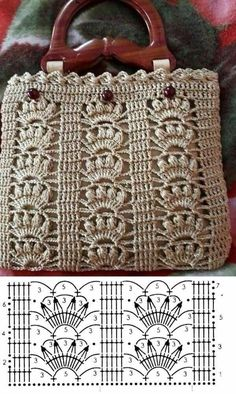 Crochet bags with stitch chart gráfico Facing The Sea-- 10 crochet bag models and graphics Crochet Motifs, Crochet Diagram, Crochet Stitches Patterns, Crochet Chart, Crochet Designs, Crochet Doilies, Knitting Patterns, Free Crochet, Crochet Squares