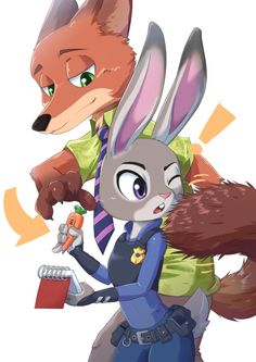 Nick trying to steal Judy's carrot pen and paper.