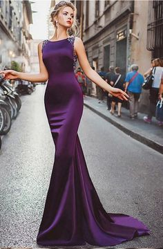 Prom Dress Fitted, Neckline Satin Purple Mermaid Evening Dresses With Beadings There are delicate lace prom dresses with sleeves, dazzling sequin ball gowns, and opulently beaded mermaid dresses. Mermaid Evening Dresses, Formal Evening Dresses, Elegant Dresses, Pretty Dresses, Dress Formal, Long Mermaid Dress, Purple Evening Gowns, Dress Casual, Formal Gowns