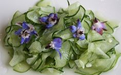 Cucumber Salad with Borage Flowers from Healthy Green Kitchen.