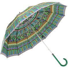 New World Textile Print Walking Length Umbrella - Green - Brolliesgalore (also in red and blue)