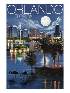 Orlando, Florida - Skyline at Night - Lantern Press Artwork Giclee Art Print, Gallery Framed, White Wood), Multi Orlando Florida, Orlando Vacation, Cruise Vacation, Florida Travel, Vintage Travel Posters, Key West, Places To Visit, Lantern, Night