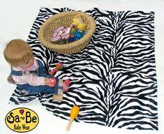 Zebra faux fur baby blanket - White