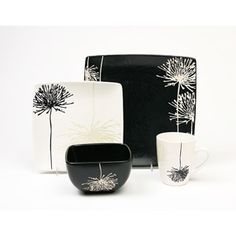 Garden 16-Piece Dinnerware Set, Black and White