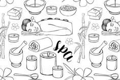 Spa doodle set pattern by Netkoff on @creativemarket