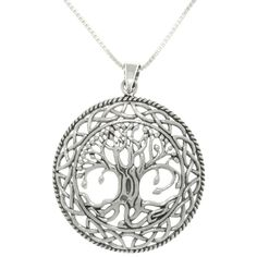 Update your jewelry collection with this Celtic sterling silver necklace. This piece depicts the Tree of Life in full bloom on a gorgeous spring day, surrounded by classic Celtic knotwork to bring a sense of renewal to your daily life.