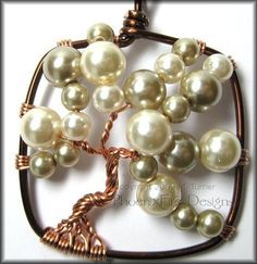Bubble Tree 2 - Square Tree of Life Pendant in Brown and Copper Wire With Glass Pearl $45 #ibhandmade