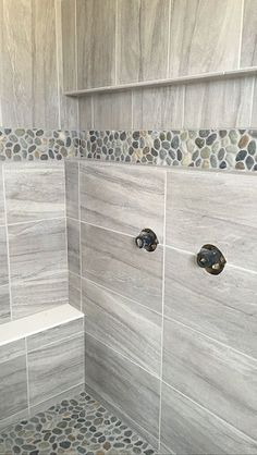 Field Tile: Daltile Linden Point in Grigio Accent: Level Pebble in Java Gray by Hamilton Parker Master Bathroom Shower Ideas Gray Large Format Tile Pebble Shower Floor and Accent Linear Stacked Tile with Style New Home Constru Master Bathroom Shower, Small Bathroom, Bathroom Ideas, Bathroom Showers, Bath Ideas, Tile Showers, Stone Bathroom, Bathroom Layout, Bathroom Colors
