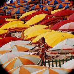 size: 16x16in Photographic Print: Europe Beach Scene Crowded with Colorful Umbrellas and a Bikini-Clad Young Woman by Ralph Crane : Artists War Photography, Types Of Photography, Abstract Photography, Beach Blanket Bingo, Europe Beaches, Colorful Umbrellas, Slim Aarons, Bikini Clad, Close Up Portraits