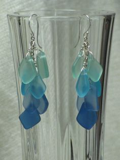 Elegant SEA GLASS Dangle EARRINGS Sterling Silver Cascading Green to Blue Handmade Earwire Beads