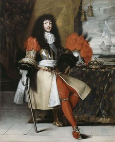 """Louis XIV in 1673, The original portrait by Claude Lefèbvre, from which the Versailles painting is derived, is located at the Isaac Delgado Museum of Art, New Orleans. It must have been considered an important painting at the time, since it was engraved in its entirety and in great detail by Nicolas Pitau in 1670. [Ref: Claire Constans, """"Louis XIV, King of France and Navarre (1638–1715)"""" in Constans & Salmon 1998, p. 59]"""