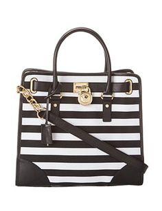 MICHAEL MICHAEL KORS MK Large Hamilton Black White Striped Tote Shoulder Bag
