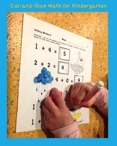 FREE set of Common Core Based Cut-and-Glue Math for kindergarten and first.