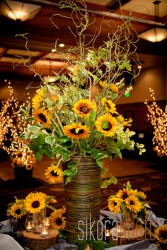 sunflower reception wedding flowers,  wedding decor, wedding flower centerpiece…