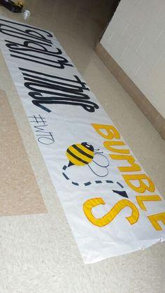 """Squash the """"bumble bees"""" Run Through Signs, Football Signs, Bumble Bees, Squash, School Stuff, Cheer, Sports, Hs Sports, Pumpkins"""
