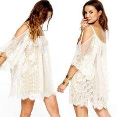 Vintage Bohemian Dress white lace