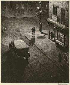Relics, Speakeasy Corner, 1928 by Martin Lewis, (Australian/ American, 1881–1962) - drypoint