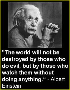 """""""The world will not be destroyed by those who do evil, but by those who watch them without doing anything."""""""