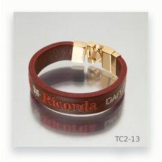 Leather Bracers, Hand Embroidery, Fashion Bracelets, Men's Leather, Orange, Steel, Silver