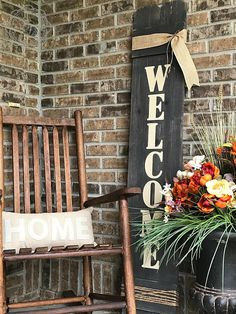 This Large Vertical Outdoor Welcome Sign for Front Door Front is just one of the custom, handmade pieces you'll find in our outdoor & gardening shops. Decor, Wooden Welcome Signs, Outdoor Space Design, Front Door, Front Porch Decorating, Porch Signs, Welcome Sign, Outdoor Welcome Sign, Porch Decorating