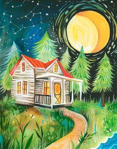 Night Cabin art print Rustic Wall Art Nature by thewheatfield Art Mural Rustique, Art Et Nature, Daisy Art, Acrylic Artwork, Rustic Wall Art, Nature Scenes, The Fresh, Art Projects, Illustration Art