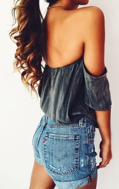 #spring #outfits My FAVE High-waisted Levi's Shorts Are On SALE Right Now, Babes Get This Whole Outfit For Under $100 Xoxo // Black Velvet Off The Shoulder Top + Denim Short
