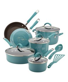 This Agave Blue Porcelain 12-Piece Cookware Set is perfect! #zulilyfinds